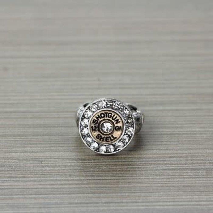 Silver 12 Gauge Shotgun Stretch Ring