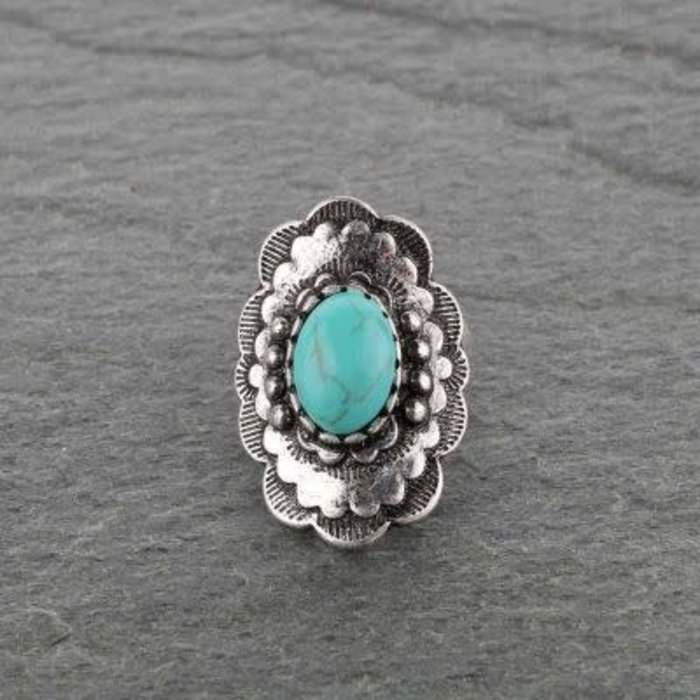 Silver Scalloped Turquoise Stone Stretch Bracelet