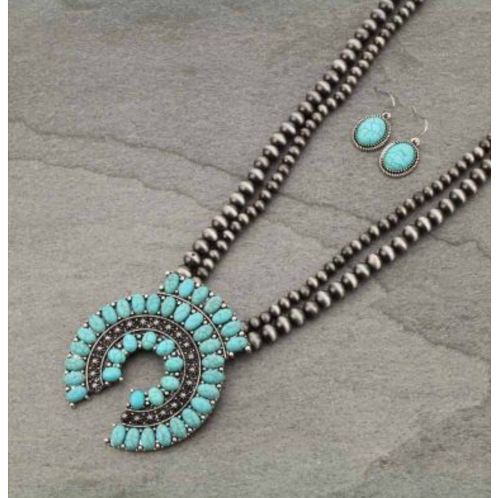 Turquoise Squash Double Silver Navajo Pearl Necklace Set