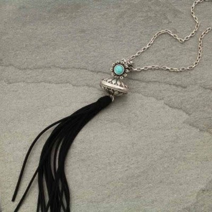 3D Silver Single Squash with Black Suede Tassel Necklace