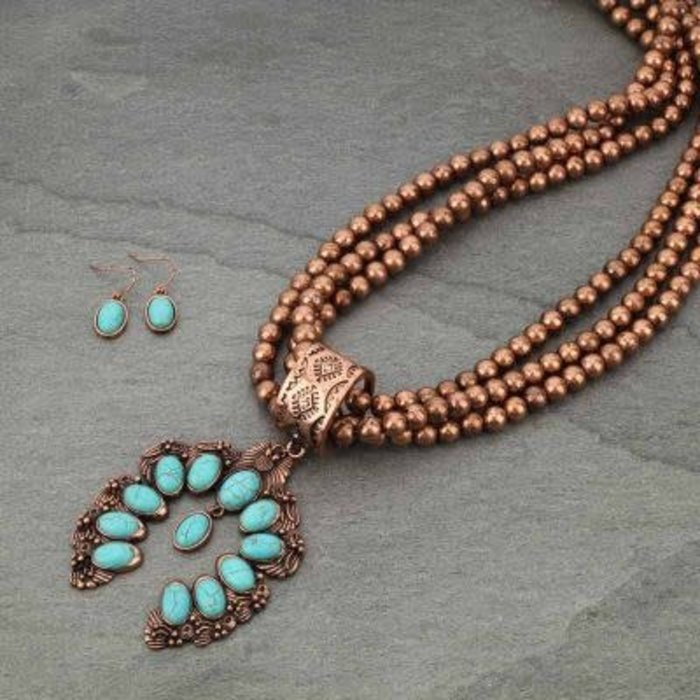 Copper Beaded 3 Strand Turquoise Squash Necklace Set
