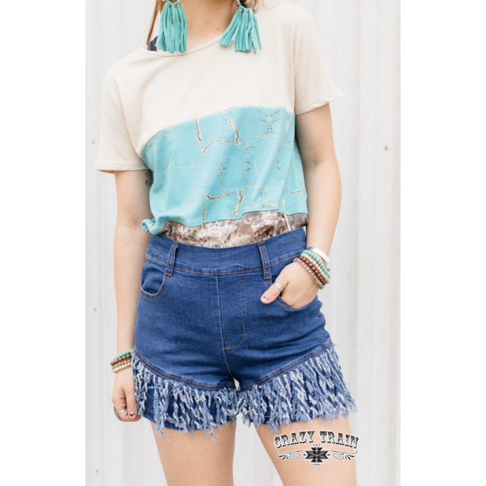 Fray It Ain't So Denim Fringe Shorts