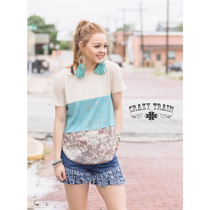 Ranchers Wife Cowhide & Turquoise Top