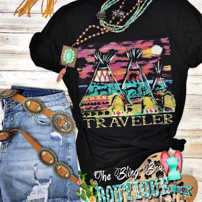 Black Traveler Teepee T-Shirt