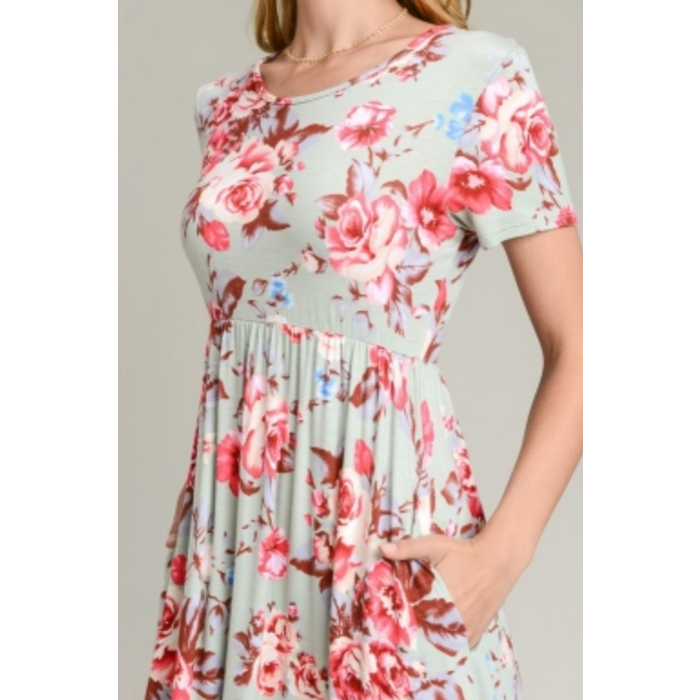Sage Floral Short Sleeve Dress w/Pockets