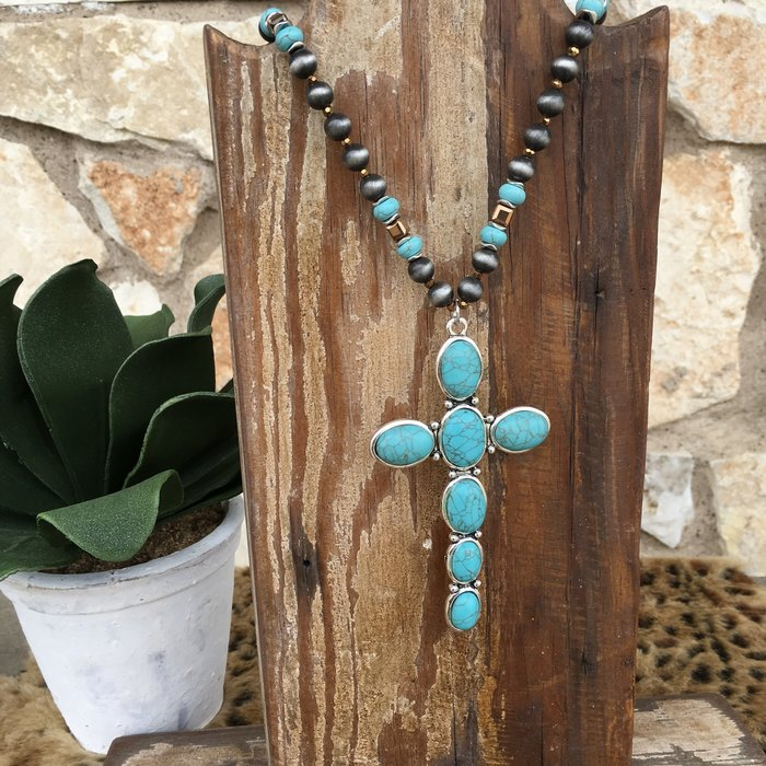 Turquoise Cross Navajo Pearl Necklace Set