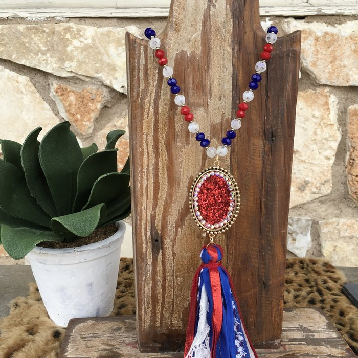 Red Glitter Pendent Necklace with Tassels