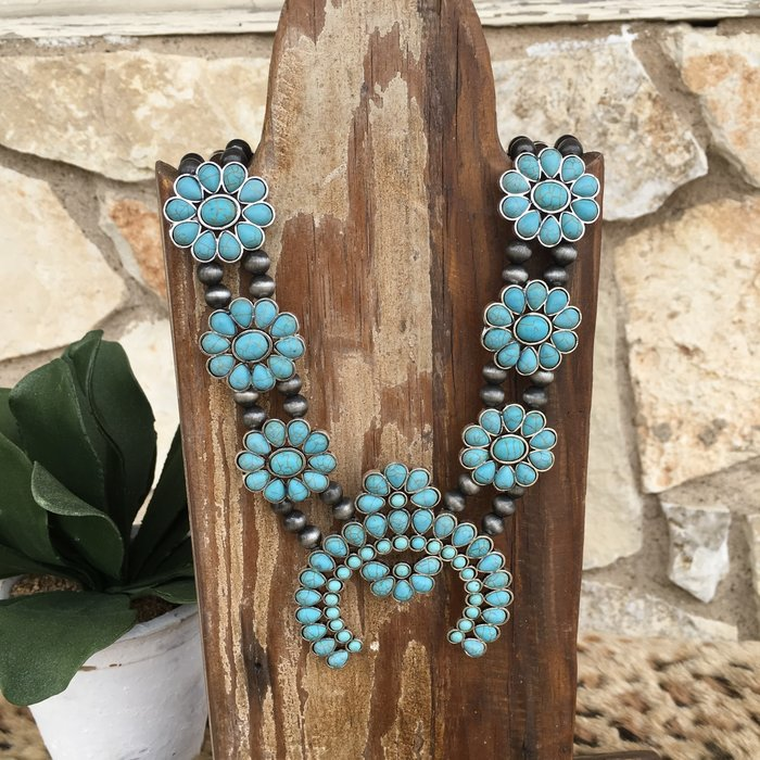 Turquoise Round Squash Navajo Pearl Necklace Set