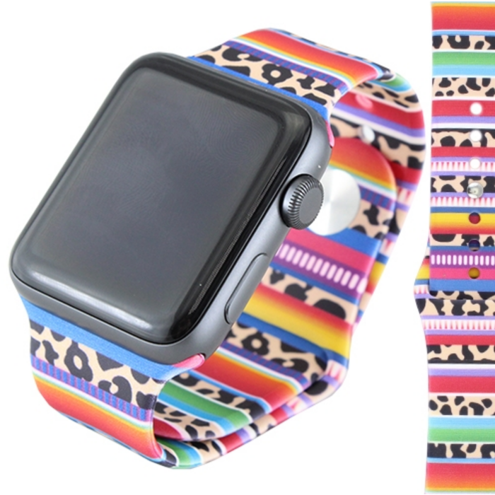 Serape & Leopard Print 38mm Rubber Watch Band