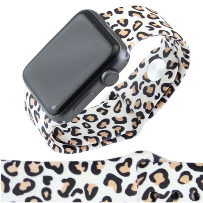 White Leopard 38mm Rubber Apple Watch Band