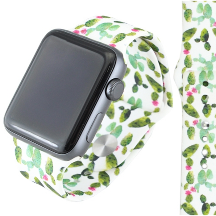 Cactus Print 38mm Rubber Watch Band