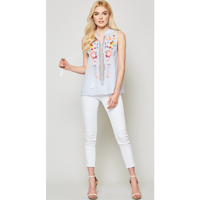 Chambray Embroidered Tank with Tassels