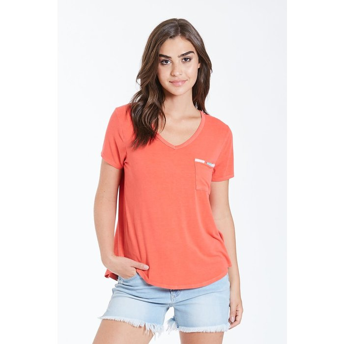 Bright Coral Suki Embroidered V-Neck Tee