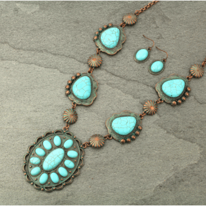 Patina Western Turquoise Concho Necklace Set