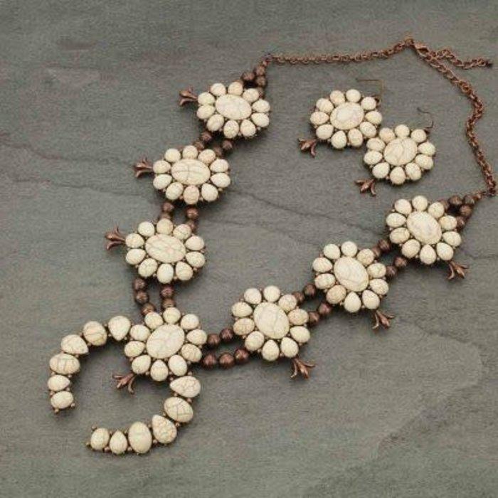 Copper & Ivory Squash Blossom Concho Necklace Set