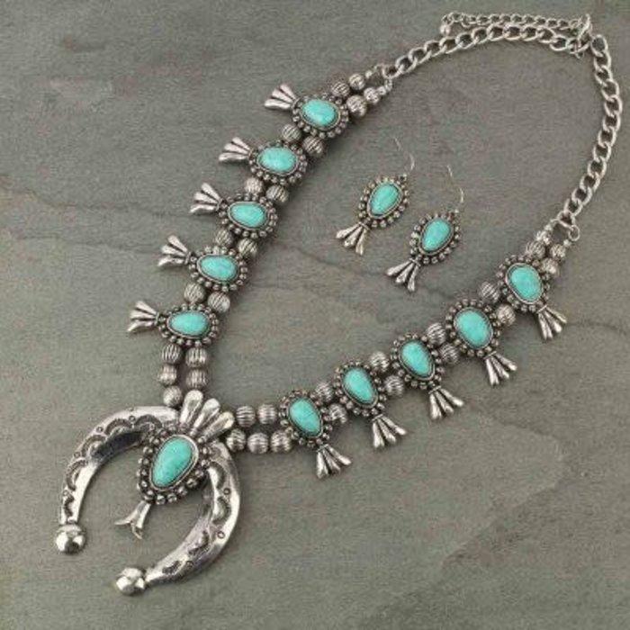 Silver & Jade Squash Blossom Melon Necklace Set