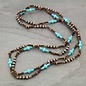 Copper Navajo Pearl & Turquoise Wood Bead Necklace