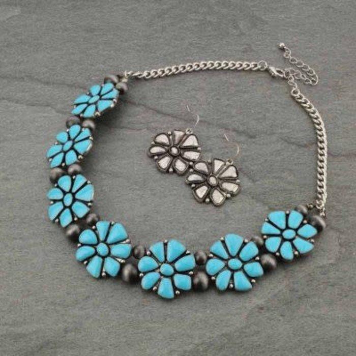 Turquoise Flower Necklace Set