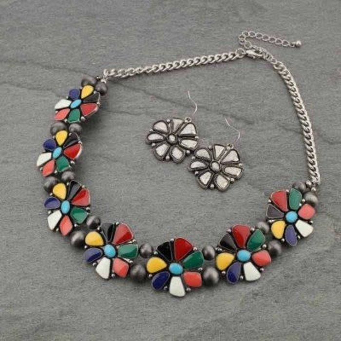 Multi Flower Necklace Set