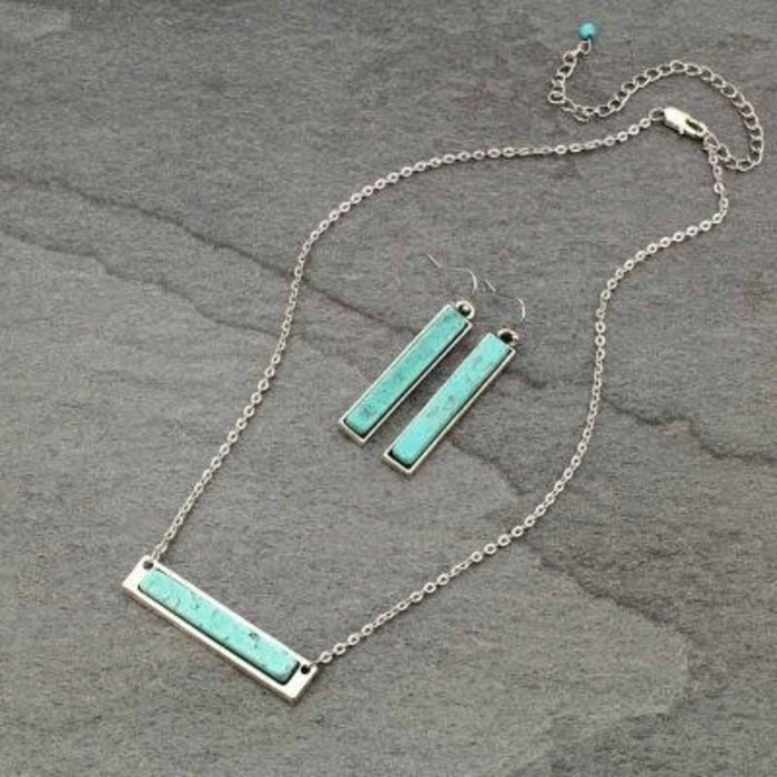 Silver Turquoise Stone Bar Necklace Set