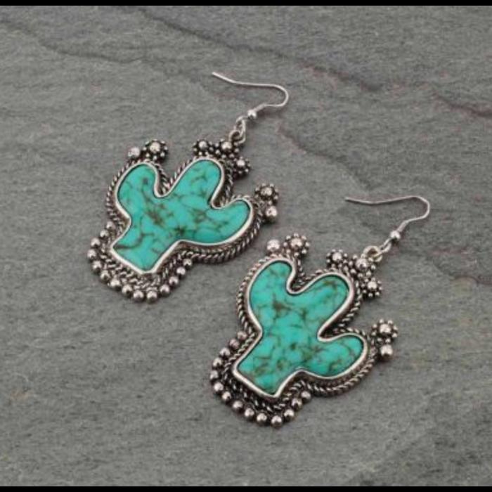 Turquoise Stone Cactus Earrings
