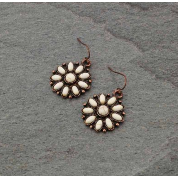 Ivory Stone Floral Earrings