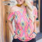 Whoa There Wild Tilt Off Shoulder Aztec Top