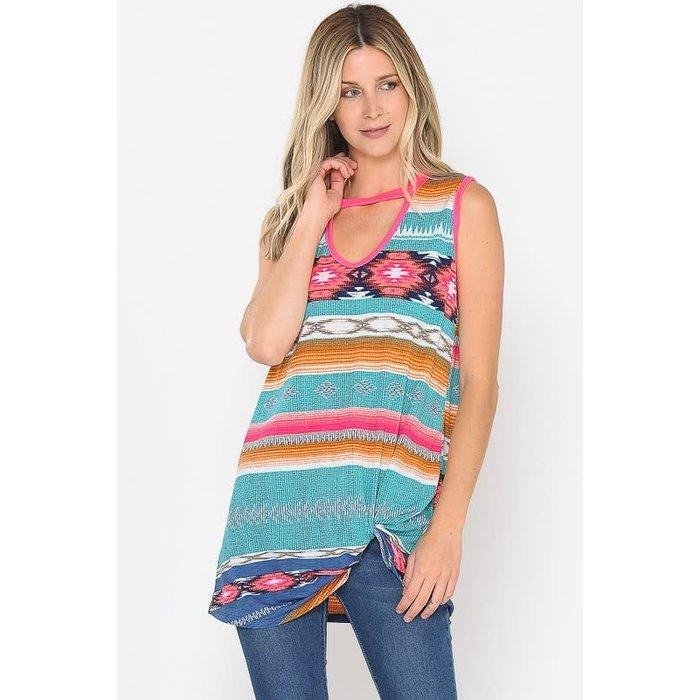 Aztec Print Choker Neck Twist Hem Tunic