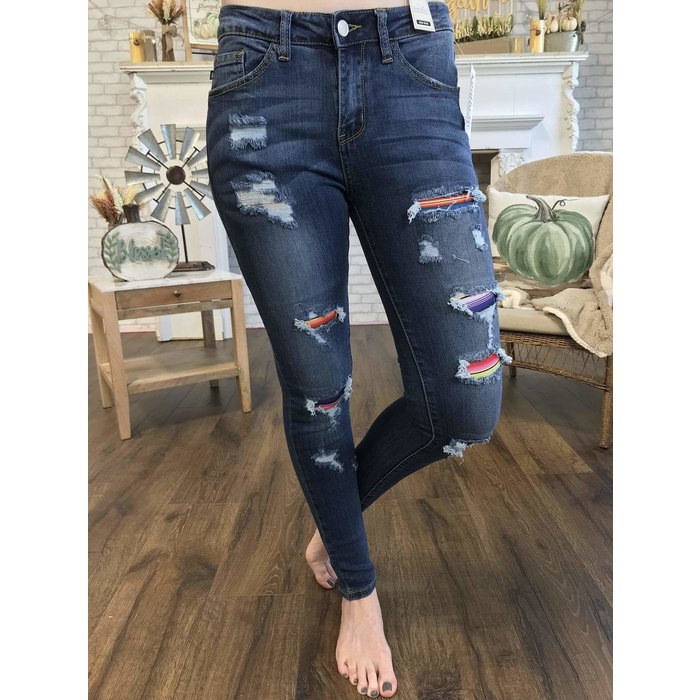 Distressed Serape Skinny Jeans