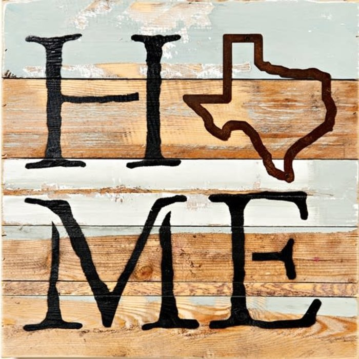 Texas Home 14X14 Wood Plaque