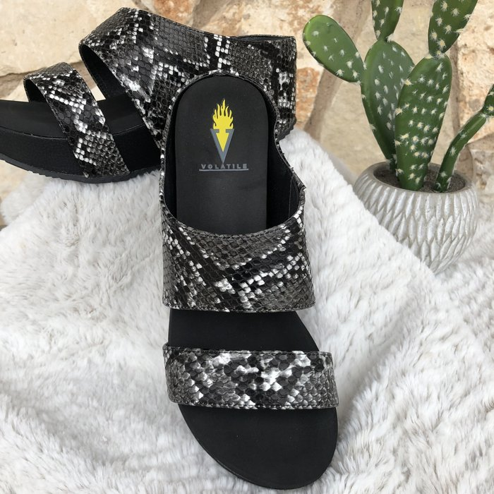 Justify Black Multi Snake Skin Wedge