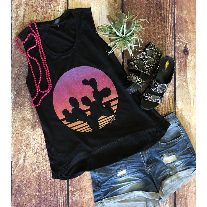 Cactus Sunset Black Freedom Tank