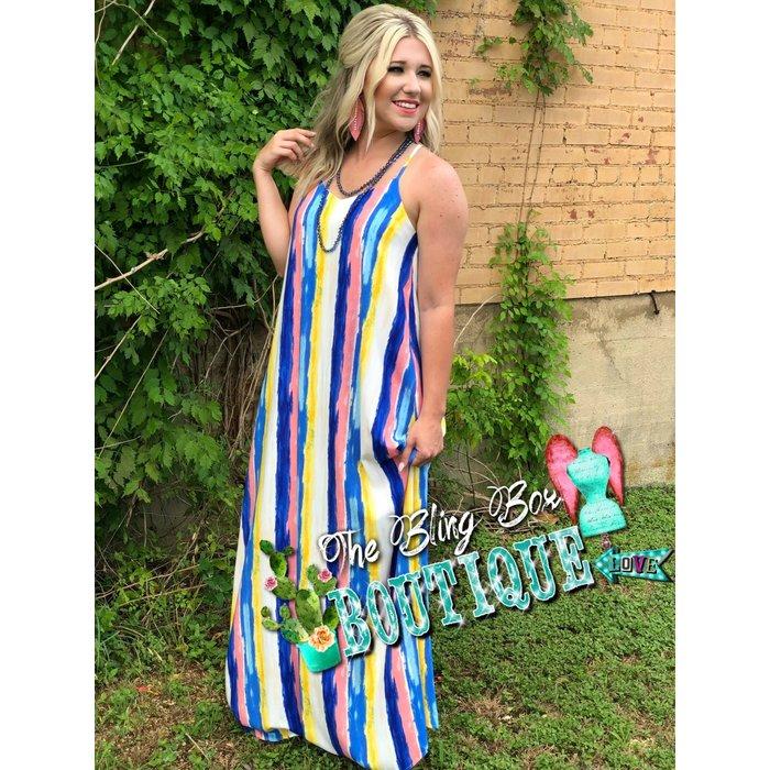 Ocean Striped Maxi Dress
