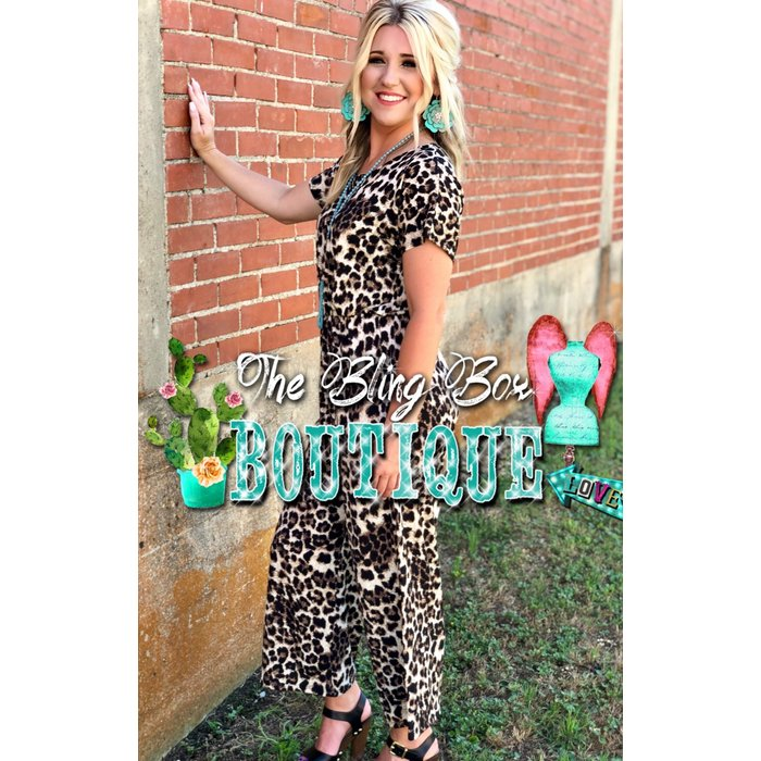 Leopard Print Button Up Jump Suit