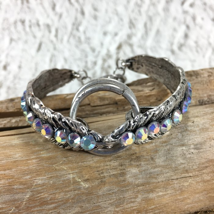 Silver Feather Bling Bracelets