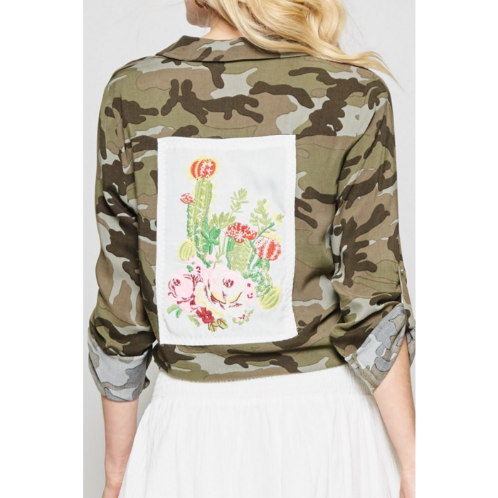 Camo Cactus Embroidered Button Up Top