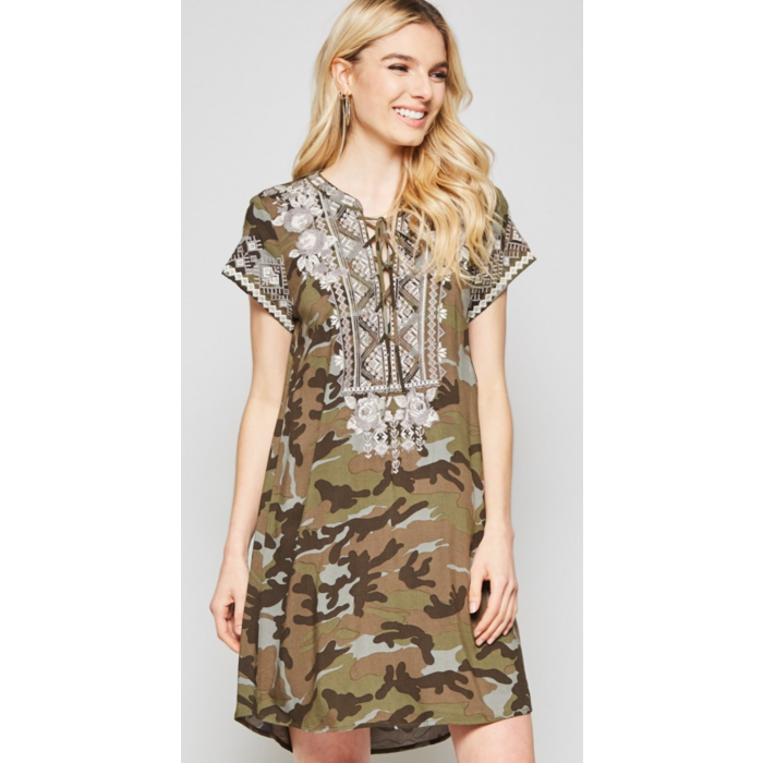 Camo Aztec Embroidered Dress