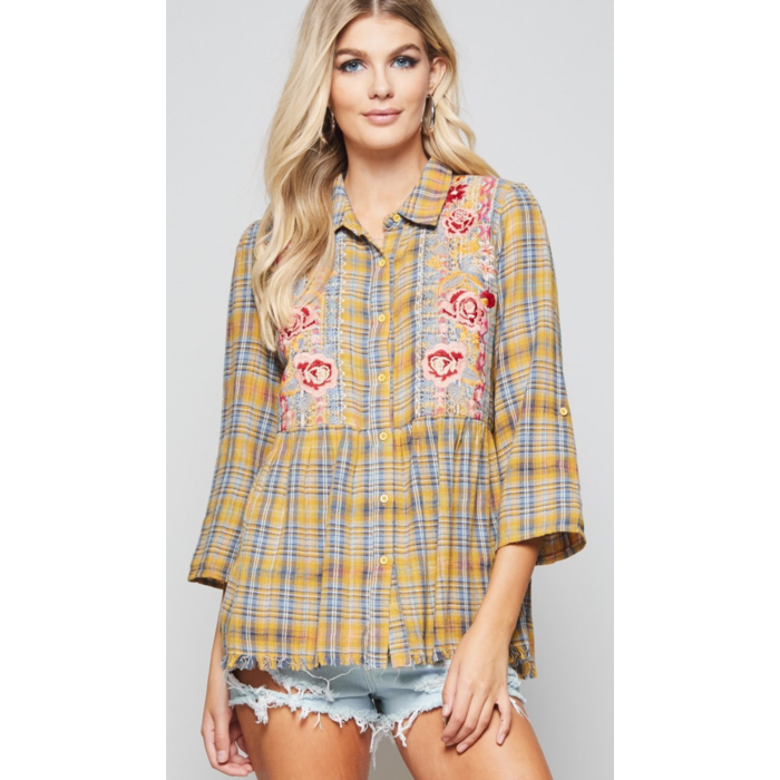 Mustard Plaid Floral Embroidered Top