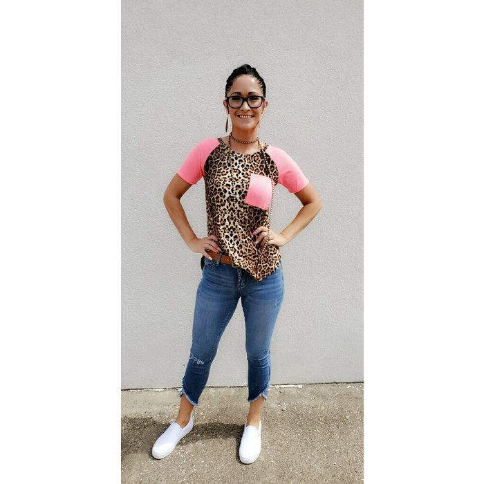 Leopard Hot Pink Pocket Sleeve Top