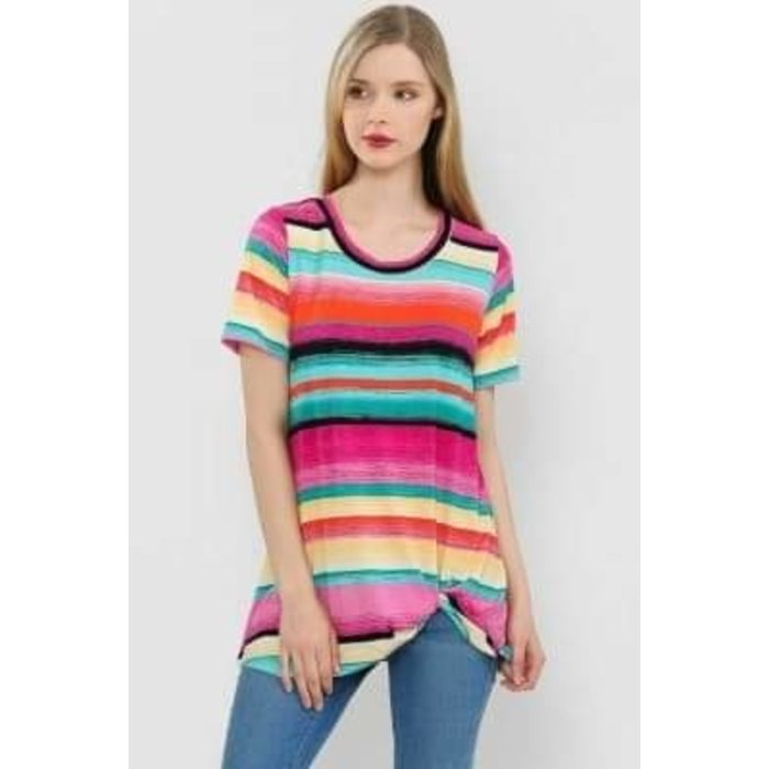 Multi Striped Twist Front Tie Knot Top
