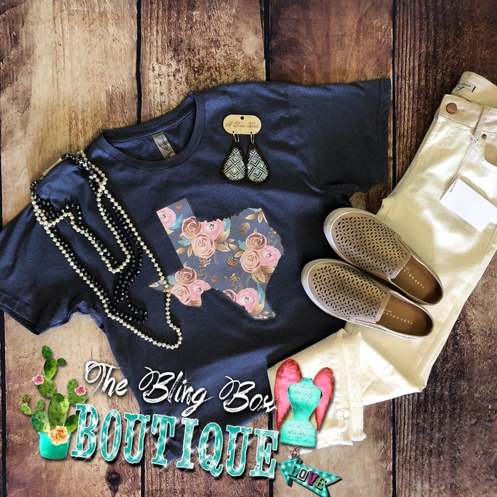 Floral Texas on Denim Color T-Shirt