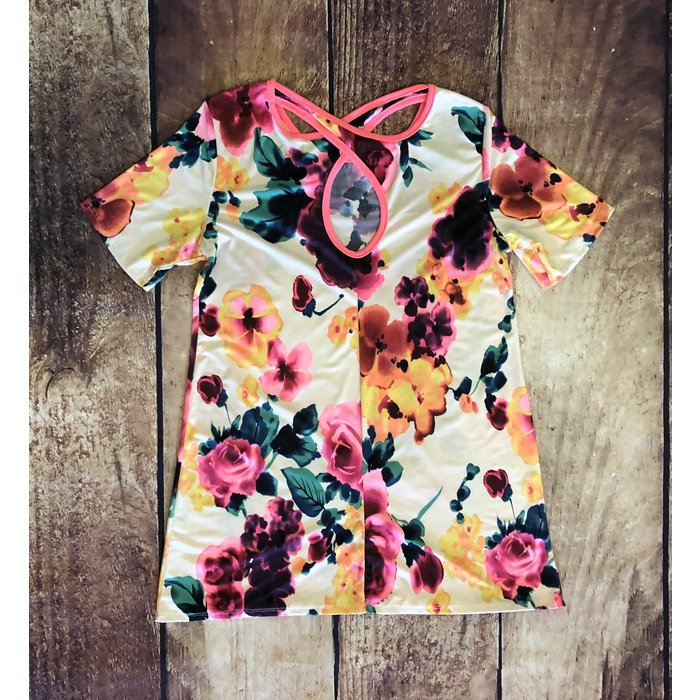 Ivory Neon Floral Tunic