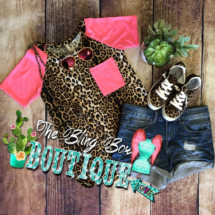 Leopard Hot Pink Pocket Sleeve Top