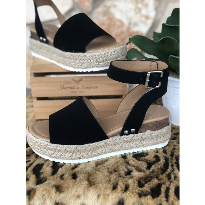 Black Topic Platform Sandals