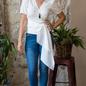 Ivory 3/4 Sleeve Wrap Shirt