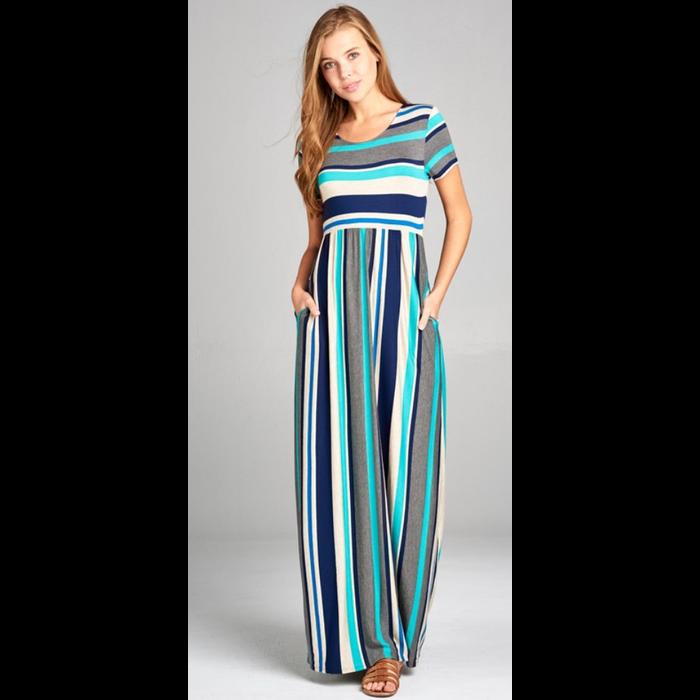 Jade Striped Maxi Dress w/Pockets