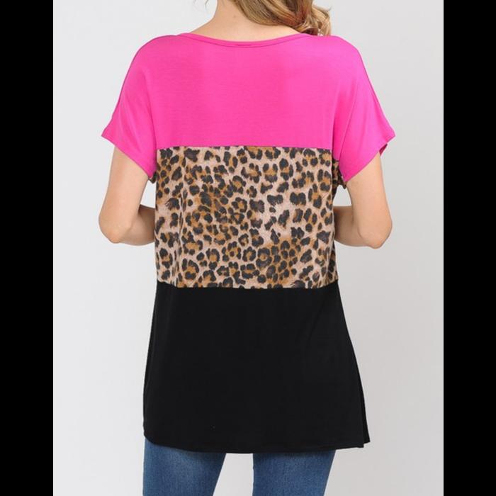 Fuchsia Pink & Leopard Criss Cross Top