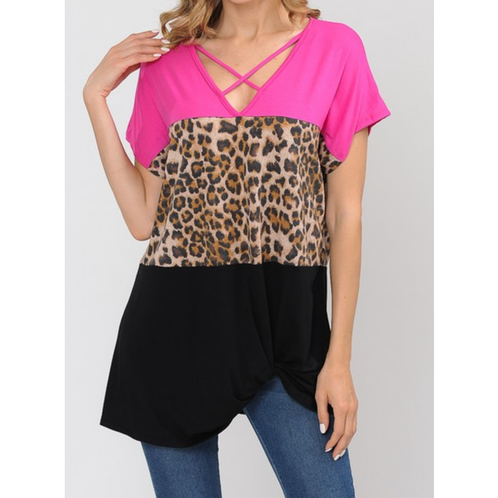 Fuchsia Pink & Leopard Criss Cross Top