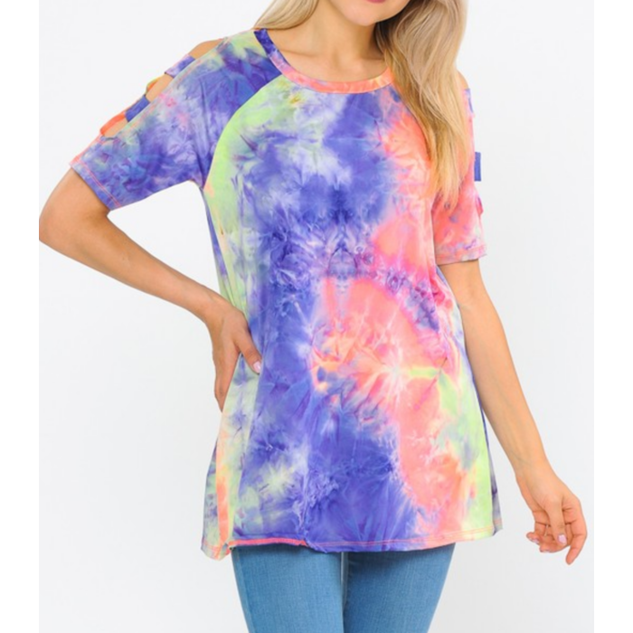 Neon Purple Tie Dye Cold Shoulder Top