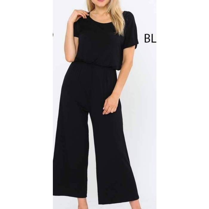 Black Short Sleeve Jump Suit